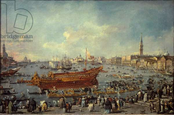The departure of the Bucentaur (Bucentoro) towards the Lido of Venice on Ascension Day Painting by Francesco Guardi (1712-1793) 1766-1770 Sun. 0,66x1,01 m Paris, Musee du Louvre - The departure of the Bucentaur (Bucentoro) to the Venice's Lido for the Ascension Day ceremony. Painting by Francesco Guardi (1712-1793), 1766-1770. 0.66 x1.01 m. Louvre Museum, Paris