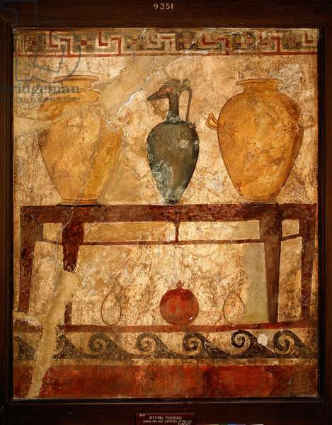 Table with vases with offerings,  from the cemetery of Paestum. 4th century BC (fresco)