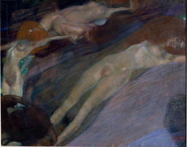 Water agitee (Bewegtes Wasser) Painting by Gustav Klimt (1862-1918). 1898 Dim. 52x65 cm Osterreichische Galerie Belvedere, Vienna.