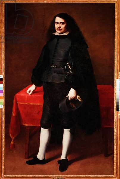 "Spanish fashion in the 17th century: """" Portrait of a gentleman with long hair and strawberry collar"""" Painting by Bartolome Esteban Murillo (1617-1682) 1670-1682 Madrid. Museo del Prado"
