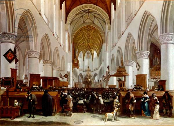 Interior of a church. Painting by Gerrit Berckheyde (1638-1698), Dutch painter. London, Narional Gallery