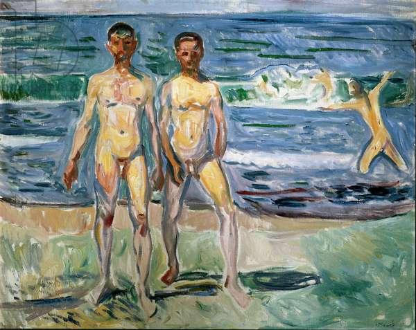 Bathers Painting by Edvard Munch (1863-1944) 1940-1942 Sun. 149,5x120 cm Vienna, Kunsthistorisches Museum, Nue Gallery in der Stallburg