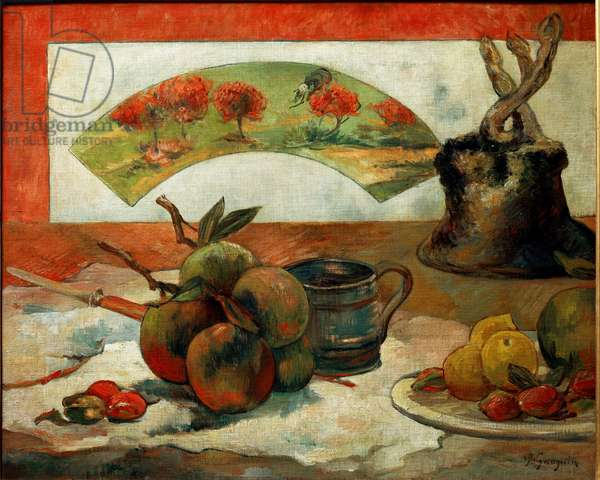 Still Life at the Fan - Painting by Paul Gauguin (1848-1903), 1889 - Oil On Canvas - Musee d'Orsay
