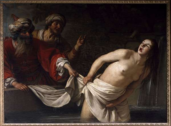 Suzanne in the Bath Painting by Gherardo delle Notti (Gerrit van Honthorst) (1590-1656) 1655 Sun. 157x213 cm Rome, Galleria Borghese