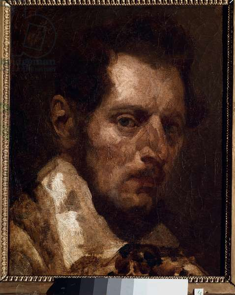 Self-portrait in the way of Theodore Gericault - Painting by Piotr Michalowski (1800-1855), oil on canvas, 37.5x27 cm. Rouen, Museum of Fine Arts