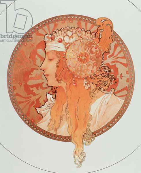 "Blonde Lithograph Series """" Byzantine heads"""" by Alphonse Mucha (1860-1939), 1897 - """" Blonde"" From a serie of lithographs called """" Byzantine heads"""" by Alphonse Mucha, 1897 Diam 50 cm Private collection"