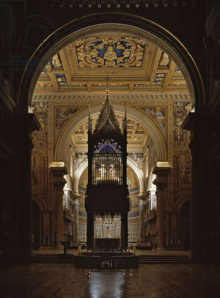 View of the canopy of the Basilica of St. John's Lateran (St. John's Laterano or San Giovanni in Laterano), realized by the architect Giovanni di Stefano, 1367 (14th-century Gothic baldacchino by Giovanni di Stefano, 1367 Archbasilica of St John Lateran, Rome)