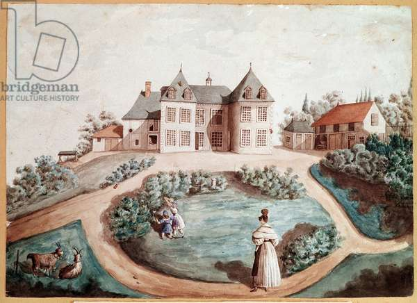 "Evocation of the novel by Honore de Balzac (1799-1850) representing a castle in Touraine - (Illustration for the novel ""The Lily of the Valley"" by Honore de Balzac) Drawing attributed to Marie du Fresnay (19th century) friend of the novelist - Paris, museum of the house of Balzac"