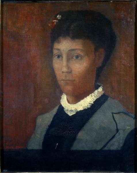 "Madame Odilon Redon Portrait of Camille Redon nee Falte (1853-1923), 1882, Painting by Odilon Redon (1840-1916), Dim: 0,46x0,38 m, Paris, Musee d'Orsay - """" Madame Odilon Redon"""" Portrait of Camille Redon born as Falte (1853-1923), 1882, Oil on canvas by Odilon Redon 1916), Sun: 0,46x0,38 m, Paris, Musee d'Orsay"