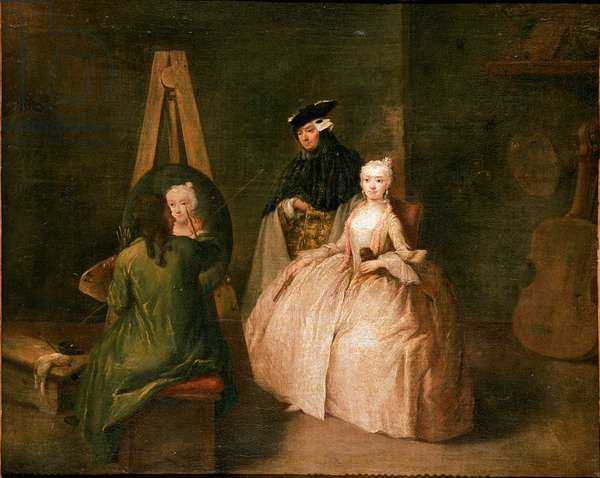 The painter's studio The painter in front of his easel portrays a young woman. Painting by Pietro Longhi (1702-1785) 1740-1745 Sun. 44x53 cm Venice, Ca 'Rezzonico, n. 133