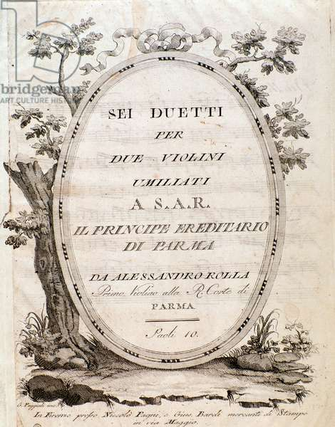 """Frontispiece of """""""" Sei duetti per due violini umiliati"""""""" by Alessandro Rolla (1757-1841) - Frontispiece of musical score of """""""" Six duets for two violins"""""""" by Alessandro Rolla - Private collection"""