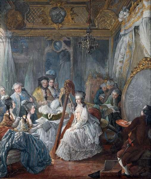 Marie Antoinette, Queen of France, in her room. Detail  (gouache, 1777)