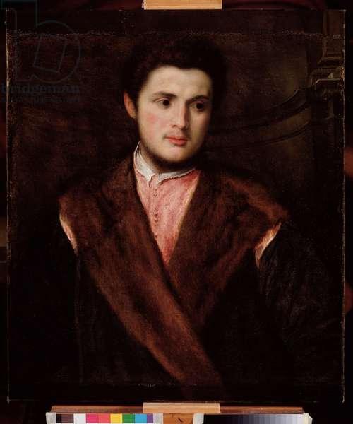 Portrait of a young man wearing a fur coat Painting by Paris Bordon (1500-1571) 16th century Dim 75x64 cm Genes Musei di Strada Nuova (ex Palazzo Rosso)