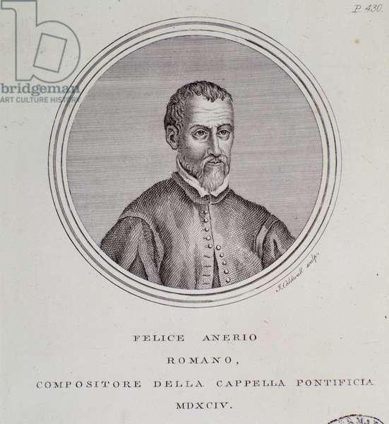 Portrait of Italian composer Felice Anerio (Engraving, 1594)