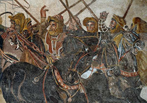 The Battle of Issos won by Alexander III the Great against Darios (Darius) III Codoman (335 - 331 BC) Mosaic of Pompei. Detail. Museo Archeologico Nazionale, Naples. (Da Pompei, Casa del Fauno)