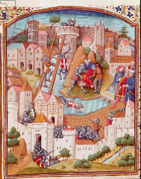 """Conquete of a fortified town Miniature taken from """""""" Cases of noble men and women unfortunes"""""""" (De casibus) by Giovanni Boccaccio dit Jean Boccace (1313-1375), Italian writer, translated by Laurent de Premierfait and enlumine by the master of Dunois (15th century) 1465 Chantilly, Musee Conde"""