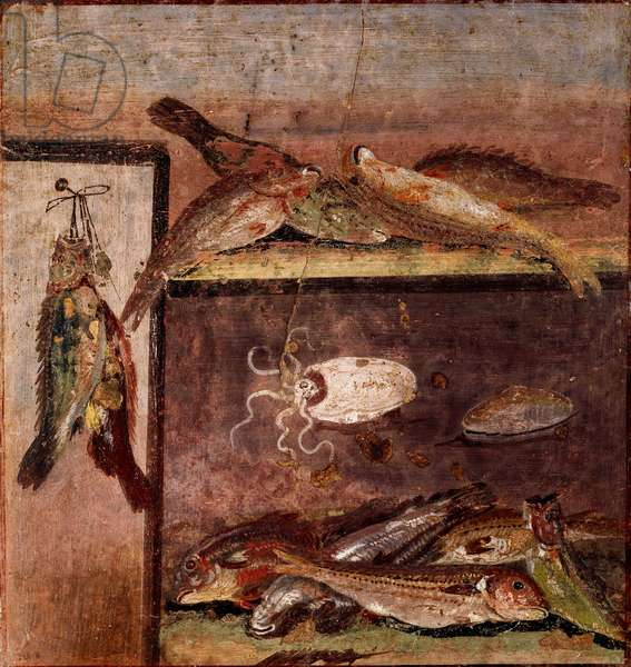 "Roman art: """" still life with fish"""" Fresco from the site of Pompei. 1st century AD. Naples, Museo Archeologico Nazionale"