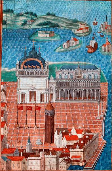 """View of St. Mark's Square with the Doge's Palace in Venice"""""""" Miniature taken from """""""" Description or deals with the government and regime of the city and seigneury of Venice"""""""""""" by the Master of Philip de Geldre (1467-1547) Chantilly, Musee Conde"""