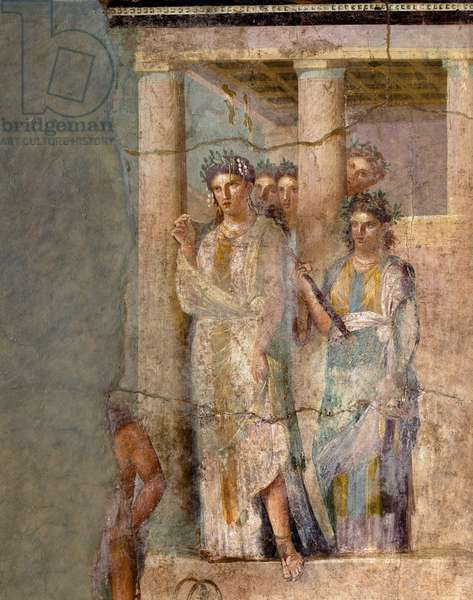 """Roman Art: """""""" Iphigenie en Tauride"""""""" Fresco attributed to the master of Lucrezio Frontone. 1st century. From Pompei. Dim. 118x81 cm Naples, Museo Archeologico Nazionale - Roman art: Iphigenia in Tauris. Fresco attributed to the master Lucrezio Frontone, 1st century. From the House of Pinario Ceriale, Pompeii. 118 x 81 cm. National Archaeological Museum, Naples, Italy"""