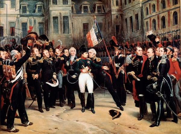 The farewell of Napoleon Bonaparte to the imperial guard in the courtyard of the Cheval Blanc in Fontainebleau on 20/04/1814, 19th century (painting)