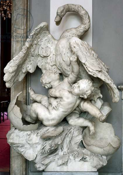 The birth of Helene and Pollux, the union of Leda and the swan The twins come out of two eggs laid by Zeus (Jupiter) turns into a swan. Marble sculpture by Bernardo Schiaffino (1678-1725) Sun. h. 146 cm Musei di Strada Nuova (ex Palazzo Rosso) Genes