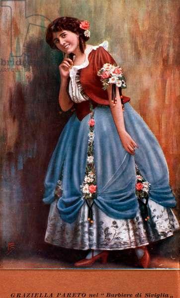 Portrait of the Spanish Singer, Graziella Pareto in 'The Barber of Seville', by Gioachino Rossini (colour litho)
