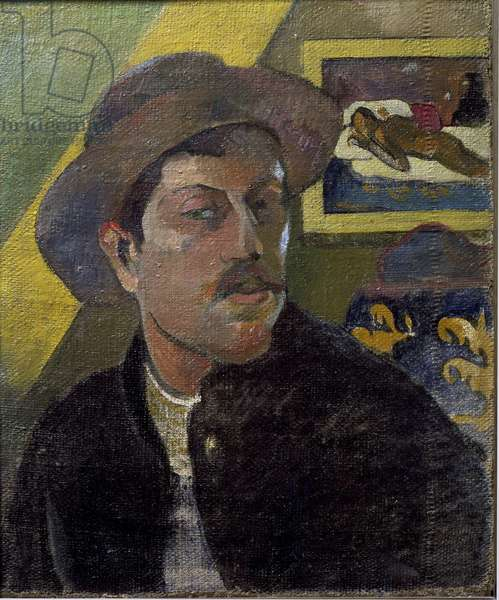 Portrait of the artist with hat - Painting by Paul Gauguin (1848-1903), oil on canvas, 46x38 cm, 1893-1894. Paris, Musee d'Orsay