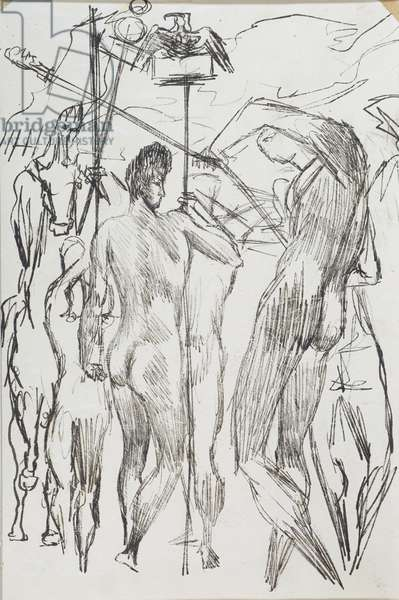 Gladiators, 1935 (oil on paper)