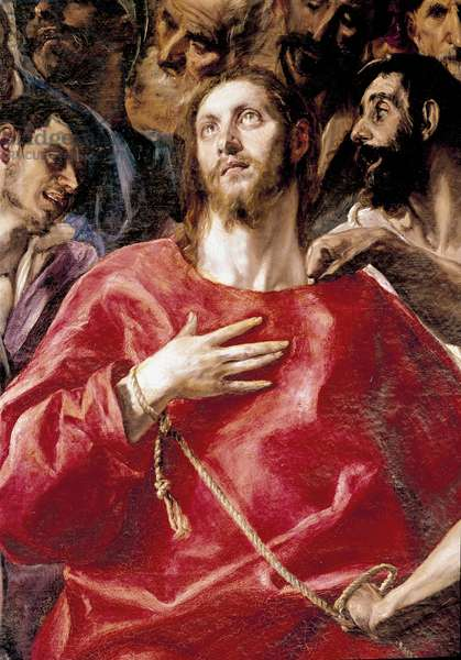 The derision of Christ. Painting by Domenikos Theotokopoulos dit El Greco (1540-1614), 1577-1579. Oil on canvas. Sun: 285x173. Cathedrale of Toledo in Spain. - The Disrobing of Christ or El Expolio, by Domenikos Theotokopoulos a.k.a El Greco (1541-1614). Detail. Oil on canvas, 285x173 cm, 1577-79. Cathedral of Toledo, Spain