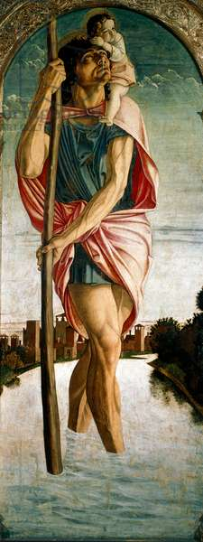 """Polyptic of Saint Vincent Ferrier (Vicent Ferrer, Vicente Ferrer) (1350-1419): """""""" Saint Christopher"""""""""""" Panel on the left. Painting on wood by Giovanni Bellini (ca. 1432-1516) dit il Giambellino 1464-1468 Sun. 167x67 cm Venice, Chiesa dei Santi Giovanni e Paolo"""