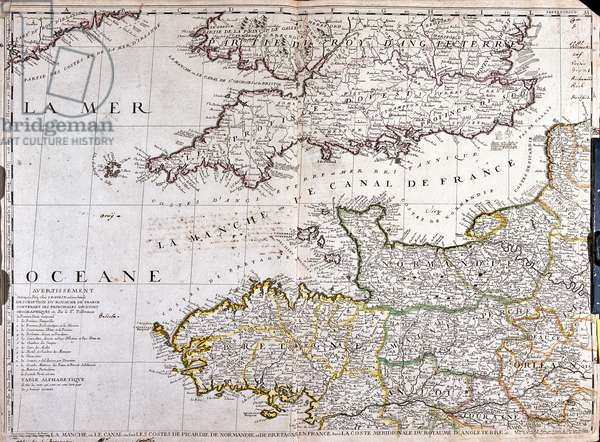 Map of the Region of 'Basse-Normandie' in France (litho)