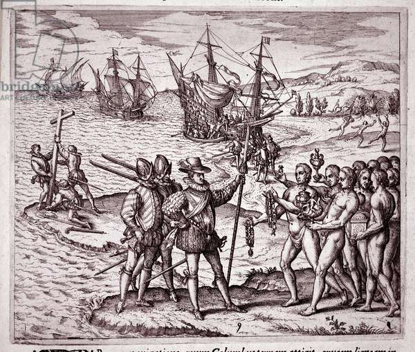 """Arrival of Christopher Columbus on the island of Hispaniola in the West Indies Engraving by Theodore de Bry (1528-1598) from """"Historia Novis Orbis"""" 1595 Milan Biblioteca Braindense"""