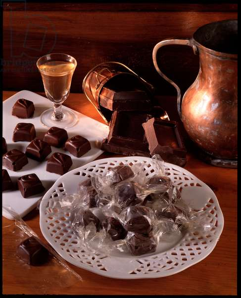 Food still life: liqueur chocolates