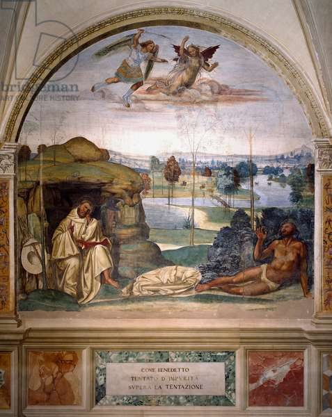 Saint Benedict triumphs over temptation by throwing himself naked into a thorn bush, while an angel fights against the demon Fresco of the refectory of the monks made by Antonio Bazzi dit il Sodoma (1477 - 1549) recounting the life of Saint Benedictine (480 - 567) founder of the Order of Benedictine. 1503 - 1508 Abbey of Monte Oliveto Maggiore, Florence