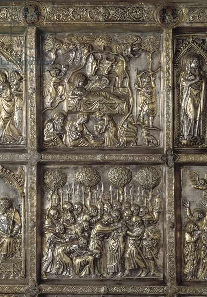 Silver Altar of Saint James the Major. Detail of the antependium decore of stories of the new testament, The nativity and kiss of Judas, 1287-1456