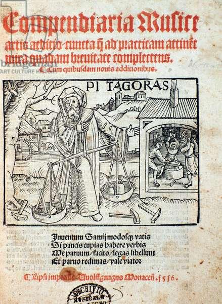 Representation of Pythagoras,  from Compendiara musica  (1516)