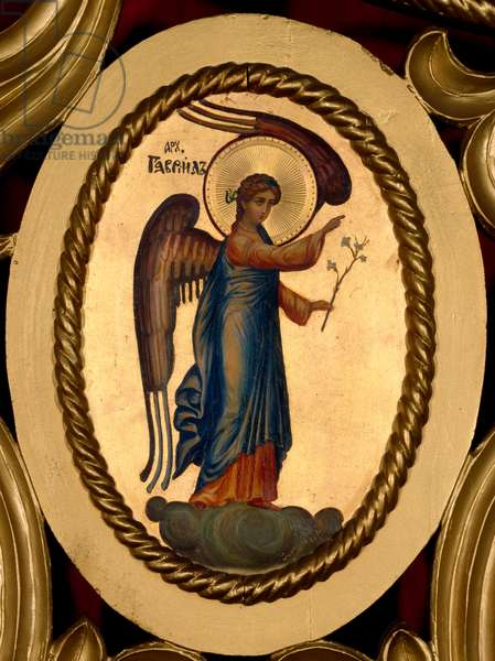 Annunciation The Annunciator Angel Gabriel. Oval painting on anonymous dorus background of the Russian school. Rome, Russicum (Russian College)