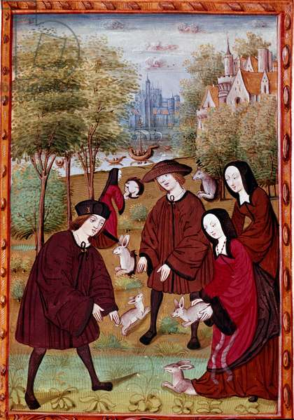"""young people playing with rabbits Miniature from """""""" Histoire de Jean III de Brush and his wife Louise de Laval"""""""" (ms. 1475) Chantilly, Musee Conde"""
