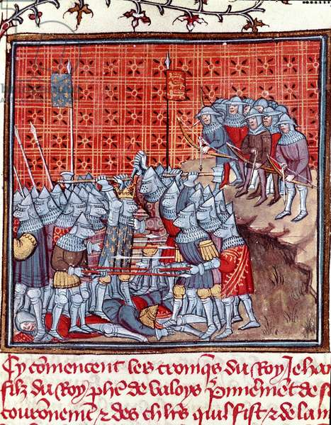 """Hundred Years' War: """""""" the King of France John II the Good (1319-1364) during a battle"""""""""""" Miniature taken from """""""" Les grandes Chronicles de France"""""""""""" by Jean Froissart (1337-1400) 14th century Chantilly, Musee Conde"""