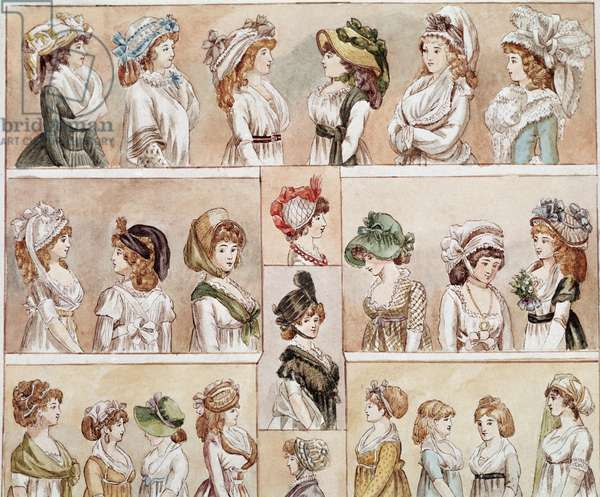 Fashion 18th: different kinds of hats, poufs, and headgear for women. Coloree board. 18th century Paris. Carnavalet Museum