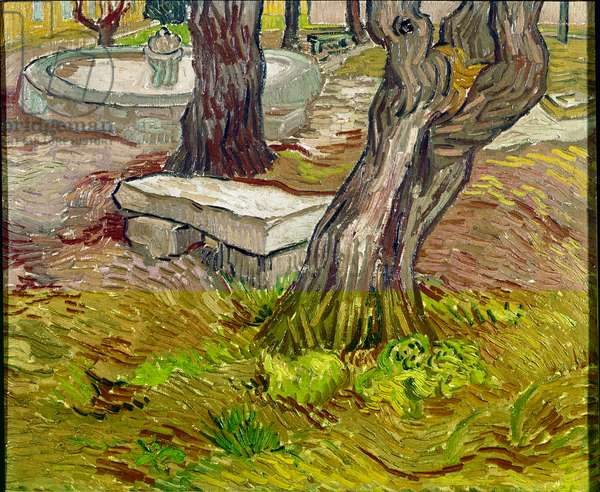 The park of the Saint Paul asylum (Saint Paul) in Saint-Remy (Saint Remy) or Bench de Pierre. Painting by Vincent Van Gogh (1853-1890), 1889. Oil on canvas. Size: 39x46cm Brazil, Sao Paulo, Museum of Fine Arts