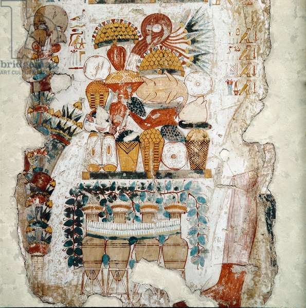 Egyptian antiquite: offerings composed of food and amphoras made to the deceased. Fragment of fresco of the tomb of Nebanon (Nebamon, nebamun) scribe and royal inspector of agricultural production, Thebes, circa 1450 BC. London, British Museum