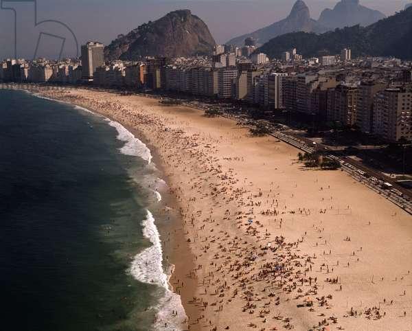 Aerial view of Copacabana Beach in Rio de Janeiro, Brazil - Aerial view of Copacabana beach in Rio de janeiro, Brazil, 1983 - Photography