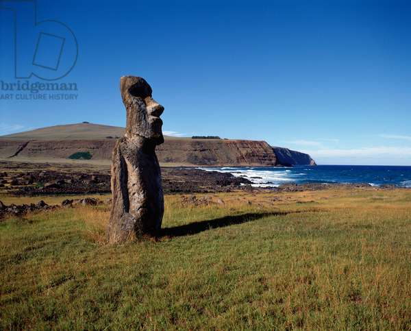 "Monolithic statue nicknamed ""Osaka Moai"""", Tongariki, Easter Island (Isla de Pascua), Chile 1983 - Monolithic figure called Osaka Moai, Tongariki, Rapa nui, Chile 1983"