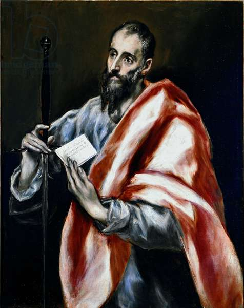 Apotre Saint Paul. Painting by Domenikos Theotokopoulos dit El Greco (1540-1614), 1610-1614. Oil on canvas. Dim: 97x77cm. House and Musee El Greco, Toledo, Spain.