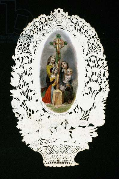 Pious image:  Children worshipping the flower cross, early  20th century (notched card)