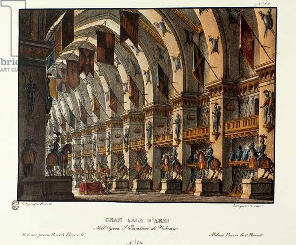 Gran Sala D'Armi, set design for the Opera 'I Cavalieri di Valenza' by Giovanni Pacini (colour litho)