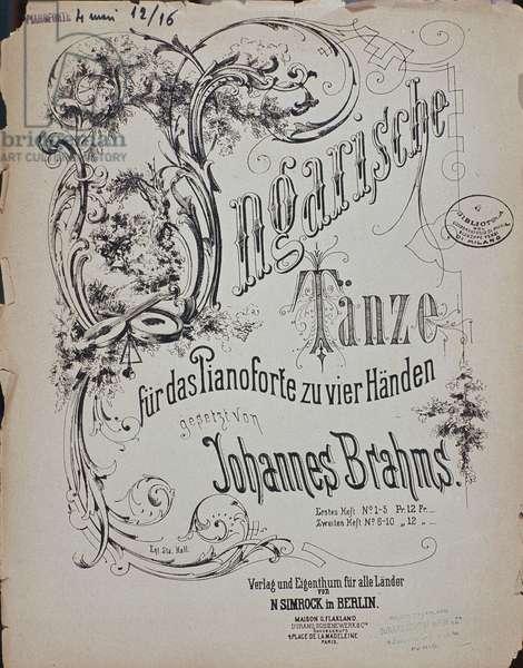 "Frontispiece of ""Hungarian Dances"" (Ungarische Tanze) by Johannes Brahms (1833-1897) (litho)"