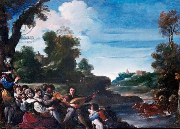 Summer Pleasures Landscape with concert. Painting by Giovanni Francesco Barbieri Guerchin dit Il Guercino (1591-1666) 17th century Sun. 0,35x0,47 m Florence, Uffizi gallery