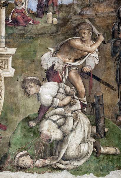 Life of St. Cecile: Martyrdom of St Valerian and Tiburtius, detail (fresco, 1506)